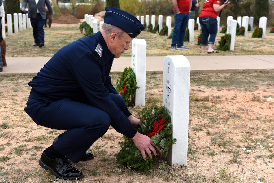 U.S. Civil Air Patrol  Capt.Garry A. Nussey, San Angelo Composite Squadron, lays a wreath at the Belvedere Cemetery in San Angelo, Texas, Dec. 12, 2015. The wreath was to honor the deceased veteran Pfc. Norl Wilson. (U.S. Air Force photo by Airman Chase Sousa/Released)