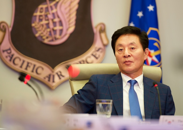 The Honorable Chung, Doo Un, Republic of Korea's Chairman of the National Assembly Defense Committee, listens to comments during a question and answer session as part of his visit to Headquarters Pacific Air Forces, Joint Base Pearl Harbor-Hickam, Hawaii, Dec. 14, 2015. Chung's visit to PACAF included discussions on U.S. and ROK defense policy issues aimed at strengthening and enhancing both nations' capabilities and readiness during crises. (U.S. Air Force photo by Tech. Sgt. James Stewart/Released)
