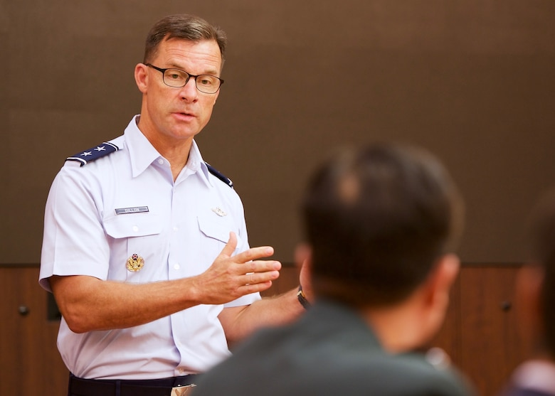U.S. Air Force Maj. Gen. Mark C. Dillon, Pacific Air Forces vice commander, participates in a question and answer session during the Republic of Korea's National Assembly Defense Commitee's visit to PACAF, Joint Base Pearl Harbor-Hickam, Hawaii, Dec. 14, 2015. Dillon discussed U.S. and ROK defense policy issues to strengthen and enhance both nations' capabilities and readiness during crises. (U.S. Air Force photo by Tech. Sgt. James Stewart/Released)