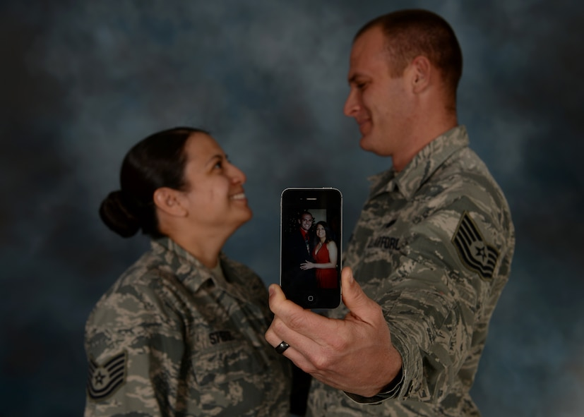 Tech. Sgts. Lillian and Gideon Stibor, 28th Medical Operations Squadron dental records NCO in charge and 28th Logistics Readiness Squadron fuels distribution NCOIC, met during their time as military training instructors at Lackland Air Force Base, Texas. Gideon Stibor had already been an MTI for two years when Lillian Stibor arrived at Lackland and he assumed the role as her mentor. (U.S. Air Force Airman 1st Class Denise M. Nevins/Released)