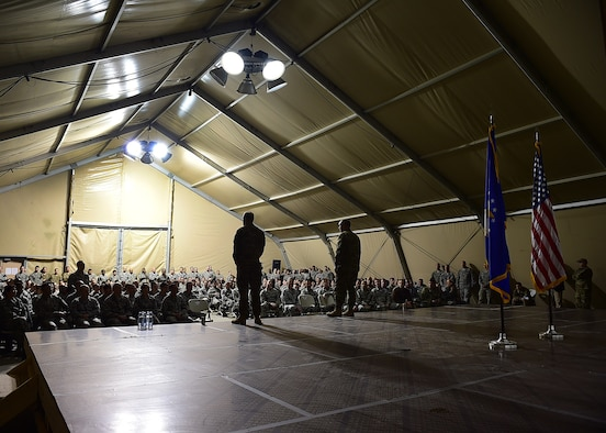 Air Force Chief of Staff Gen. Mark A Welsh III and Chief Master Sgt. of the Air Force James A. Cody address questions from Airmen currently deployed to the 332nd Air Expeditionary Wing at an undisclosed location in Southwest Asia, Dec. 10, 2015. Welsh and Cody visited the base to express their gratitude and thanks for the hard work, dedication and sacrifices made in support of Operation INHERENT RESOLVE. (U.S. Air Force photo by Staff Sgt. Jerilyn Quintanilla)