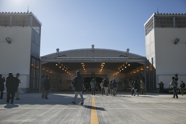 Marine Aviation Logistics Squadron 12 opened a hush house at Marine Corps Air Station Iwakuni, Japan, to local press from the Yamaguchi area as an opportunity to show what the station is doing to mitigate noise in the local area, Dec. 14, 2015. These facilities are used to reduce noise in the local area when testing aircraft engines. Building and using facilities like these help strengthen the bond between the air station and the local community by showing that the station listens to the needs of the community and are doing their best to accommodate local citizens.