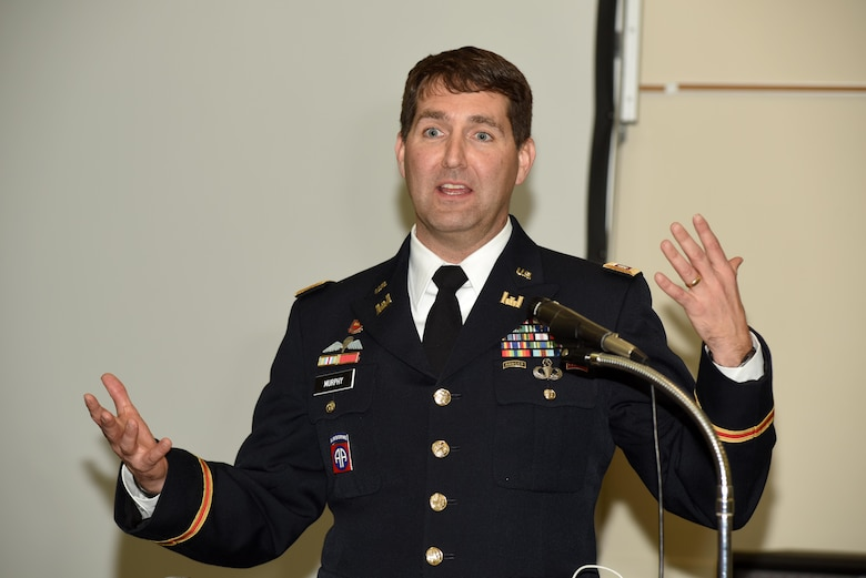 Lt. Col. Stephen Murphy, U.S. Army Corps of Engineers Nashville District commander, gives the keynote address at the Leadership Development Course graduation at the Scarritt Bennett Center in Nashville, Tenn., Dec. 9, 2015.  Twelve students from the Nashville District completed the year-long leadership course.