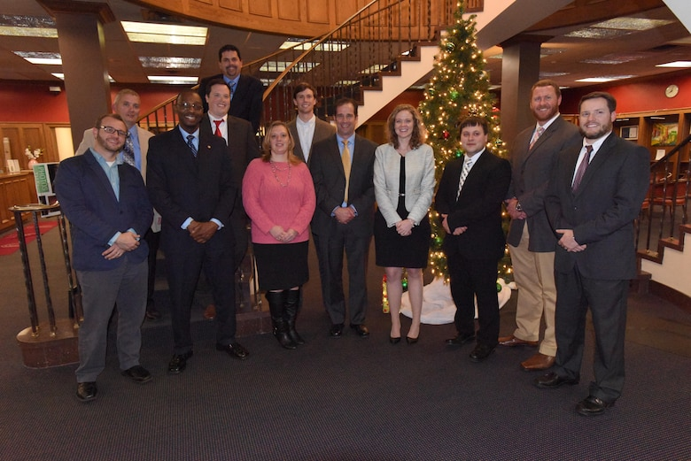 The dozen U.S. Army Corps of Engineers Nashville District graduates of the Leadership Development Program pose Dec. 9, 2015 after receiving their diplomas at the Scarritt Bennett Center in Nashville, Tenn.