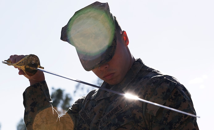 Students of Corporal's Course class 308-16 at Camp Pendleton practice drill as part of their curriculum. The students are scheduled to graduate Friday with the hopes using their new leadership skills to mold the future of the Marine Corps.