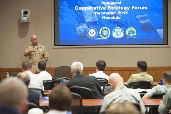 U.S. Navy Adm. Scott Swift, commander of U.S. Pacific Fleet, talks to students about regional issues in the Indo-Asia Pacific region during the Naval War College cooperative strategy forum at the Asia-Pacific Center for Security Studies in Honolulu, Dec. 14, 2015. More than 100 personnel from 10 partner nations attended the event to broaden dialogue and deepen debate on maritime challenges and opportunities in the region. U.S. Air Force photo by Staff Sgt. Christopher Hubenthal