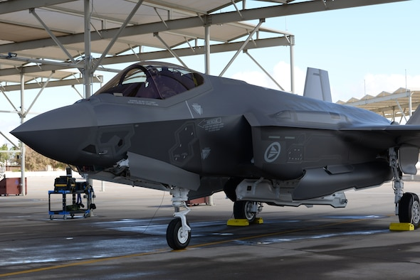 Norwegian Maj. Morten Hanche, 62nd Fighter Squadron F-35 student pilot, prepares to taxi his Norwegian F-35 out onto the runway for takeoff, Dec. 14, 2015, at Luke Air Force Base. This F-35 is one of the first two F-35s that have been produced specifically to meet the needs of the Norwegian Royal Air Force. (U.S. Air Force photo by Airman 1st Class Ridge Shan)