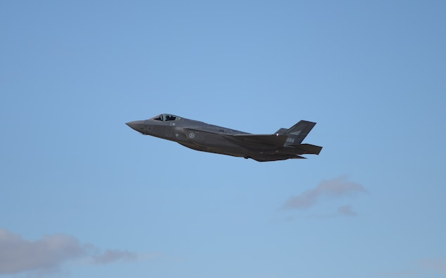 One of the first two Norwegian F-35s soars through the air under the control of Norwegian Maj. Morten Hanche, 62nd Fighter Squadron F-35 student pilot, Dec. 14, 2015, at Luke Air Force Base. Hanche engaged in simulated close air support in coordination with ground forces as an exercise during the sortie. (U.S. Air Force photo by Airman 1st Class Ridge Shan)
