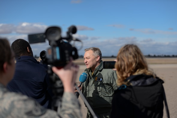 Maj. Gen. Per-Egil Rygg, Chief of Staff of the Royal Norwegian Air Force, conducts an interview for members of the press, Dec. 14, 2015, at Luke Air Force Base. Rygg discussed the significance of the first flight of a Norwegian F-35 by a Norwegian pilot, Maj. Morten Hanche. (U.S. Air Force photo by Airman 1st Class Ridge Shan)