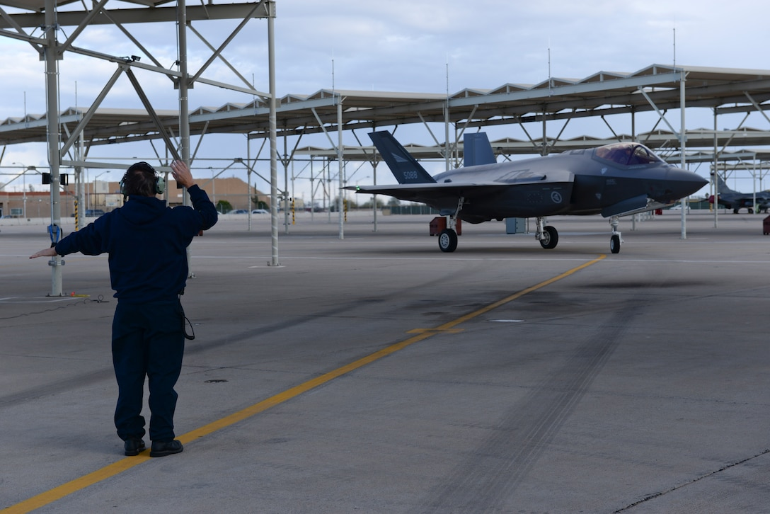 The Norwegian F-35 piloted by Norwegian Maj. Morten Hanche, 62nd Fighter Squadron F-35 student pilot, taxis to rest on the flightline after a successful sortie, Dec. 14, 2015, at Luke Air Force Base. Hanche is the first Norwegian to ever fly an F-35, and is now the first Norwegian to have piloted a Norwegian-specific F-35. (U.S. Air Force photo by Airman 1st Class Ridge Shan)
