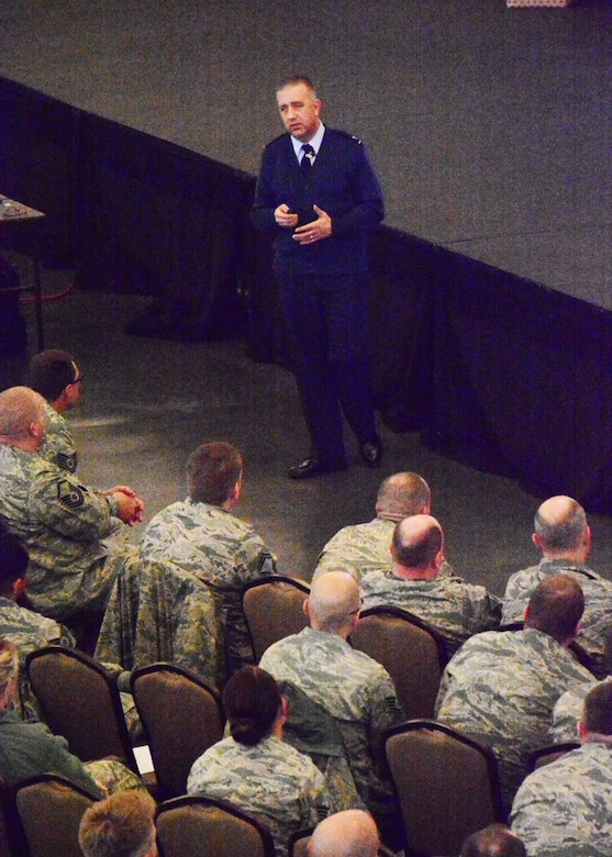 Individual Mobility Augmentee to the Director of the Profession of Arms Center of Excellence (PACE), Col. Richard Tatem, speaks to 120th Airlift Wing Airmen during the Wingman Day event held at the Mansfield Convention Center in Great Falls, Mont., on Dec. 5, 2015. (U.S. Air National Guard photo by Senior Master Sgt. Eric Peterson/Released)
