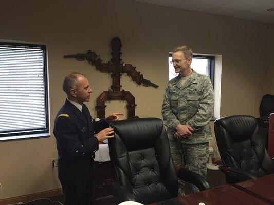 DLA Energy Commander Air Force Brig. Gen. Mark McLeod, right, meets Service des Essences des Armées Commanding General Maj. Gen. Jean-Luc Volpi at Fort Lee, Virginia, Dec. 9.