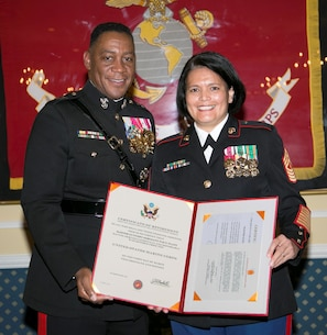 Major General Craig C. Crenshaw, Commanding General, LOGCOM, retires Master Gunnery Sergeant Paz T. Platt, after serving thirty two plus years in the United States Marine Corps. The ceremony was held on 03 December, 2015, at the Officer's Club aboard Marine Corps Logistics Base Albany.