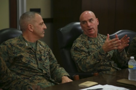 United States Marine Corps Lieutenant General Michael G. Dana, the deputy commandant for Marine Corps Installations and Logistics, sits down with command staff from 1st Marine Logistics Group to discuss the future of the Marine Corps on Camp Pendleton, Calif., Dec. 10, 2015.