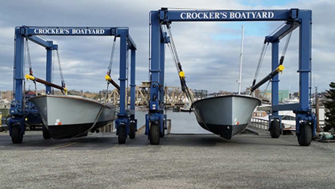 """Former Navy utility boat boats arrived in New London, Connecticut, via tractor-trailer Nov. 30. The surplus watercraft will be used to ferry passengers between historical sites along the Thames River as part of the new """"Thames River Heritage Park"""" effort there. Photo courtesy of City of Groton, Connecticut."""