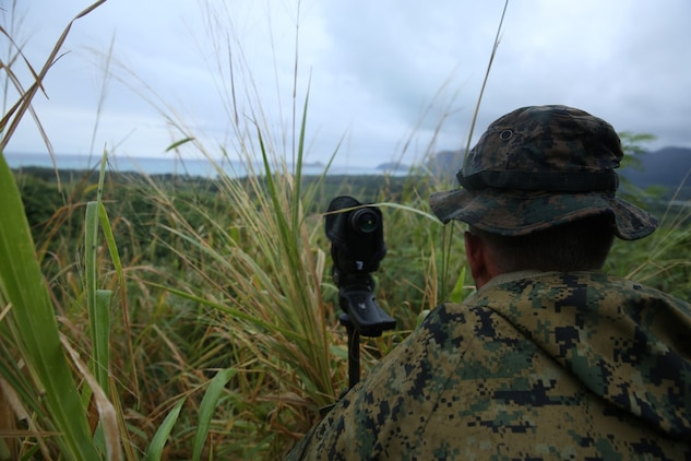 Lance Cpl. Mark Toub Jr., from Boyertown, Pa., and pointman with Company A, 1st Reconnaissance Battalion, 1st Marine Division, surveys a named area of interest during reconnaissance and surveillance training, Nov. 19-21, 2015, aboard Marine Corps Training Area Bellows, Hawaii. The Marines conducted insertion, infiltration, execution, exfiltration, and extraction in terrain unfamiliar to what is usually found at their home base in California. The Hawaiian terrain ranged from beach shores, to dense jungle and open valleys during pouring rains. (U.S. Marine Corps photo by Sgt. Tony Simmons)