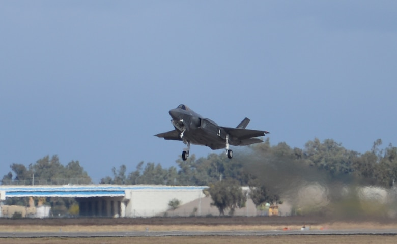 Royal Norwegian Air Force Maj. Morten Hanche, a 62nd Fighter Squadron F-35 Lightning II student pilot, makes a historic takeoff Dec. 14, 2015, at Luke Air Force Base, Ariz. This was the first time a Norwegian F-35 was launched under the helm of a Norwegian pilot. (U.S. Air Force photo/Airman 1st Class Ridge Shan)