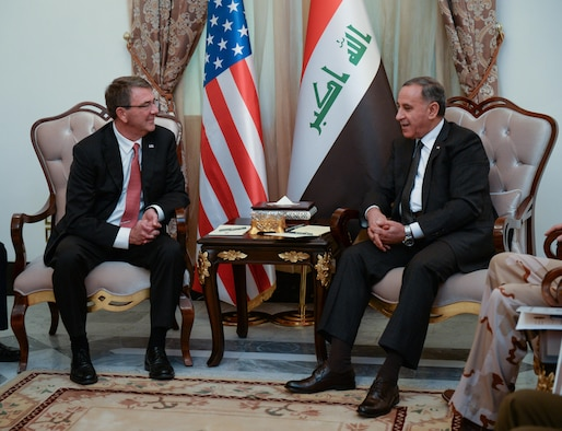 U.S. Defense Secretary Ash Carter meets with Iraqi Defense Minister Khaled al-Obaidi in Baghdad, Dec. 16, 2015. DoD photo by Army Sgt. 1st Class Clydell Kinchen