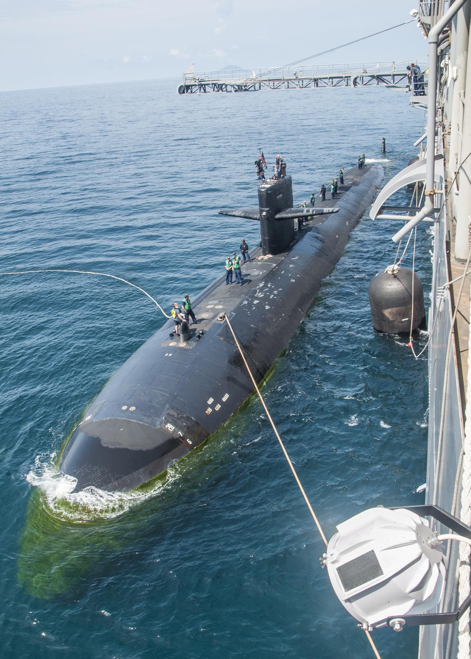Submarine And Submarine Tender Moor Together In Phuket