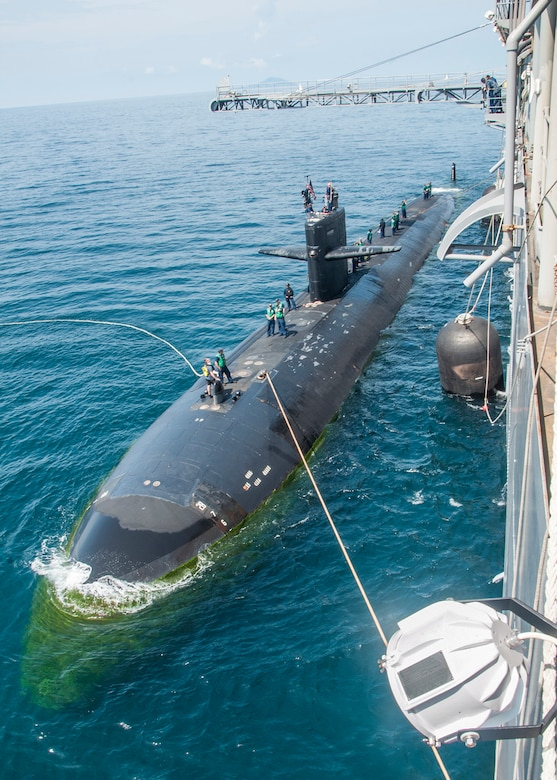 150514-N-YM718-087  PHUKET, Thailand (May 14, 2015) The submarine tender USS Emory S. Land (AS 39) conducts a tended mooring with the Los Angeles-class attack submarine USS Key West (SSN 722) alongside while anchored outside of Phuket, Thailand as part of Guardian Sea 2015, an annual exercise with the Royal Thai Navy. (U.S. Navy photo by Mass Communication Specialist 2nd Class Caine Storino/Released)