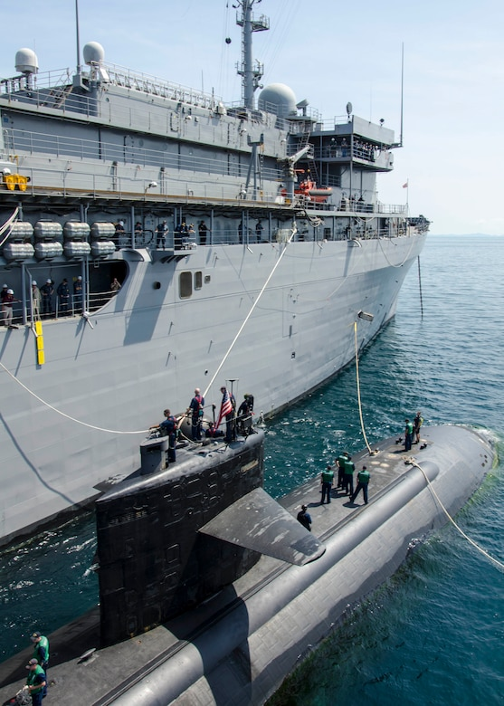 150514-N-ZZ999-134  PHUKET, Thailand (May 14, 2015) The submarine tender USS Emory S. Land (AS 39) conducts a tended mooring with the Los Angeles-class attack submarine USS Key West (SSN 722) alongside while anchored outside of Phuket, Thailand as part of Guardian Sea 2015, an annual exercise with the Royal Thai Navy. (U.S. Navy photo by Mass Communication Specialist Seaman Apprentice Michael Doan/Released)