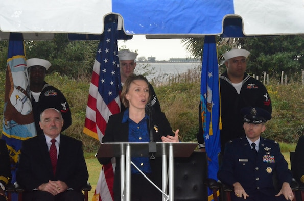 Miranda A.A. Ballentine, the assistant secretary of the Air Force for installations, environment and energy, spoke Dec. 16, 2015, at a groundbreaking ceremony at Naval Air Station Pensacola, Fla., marking the start of construction for three large-scale solar electric generating facilities.  (U.S. Navy photo/Mike O'Connor)