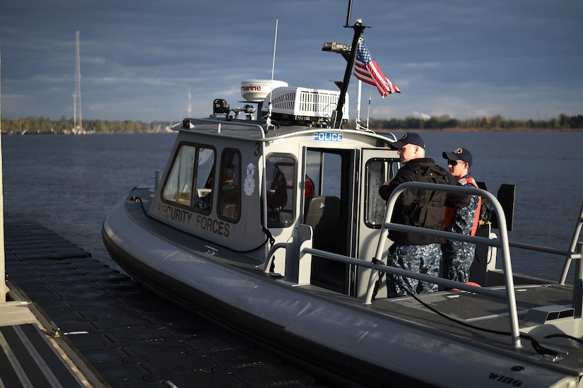 A 628th Security Forces Squadron patrol boat is dockside on Dec. 9, 2015, at the harbor patrol dock on Joint Base Charleston – Weapons Station, S.C. JB Charleston's port operations has recently implemented a new training program to effectively cut down on spending and improve resourcefulness. The training consisted of putting Sailors through a series of classes. The week following their classes, the new trainers were put to the test instructing newer Sailors on the information they just learned. (U.S. Air Force photo/Senior Airman Clayton Cupit)