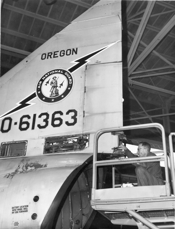 Work for William Tell began well-before the competition, and OreANG Air Guardsmen worked hard to ensure their jets were in tip-top shape.  Here, an F-102 undergoes a Time Compliance Technical Order inspection, possibly by Oregon Air Guardsman Steve Fettig.  (142nd Fighter Wing History Archives)