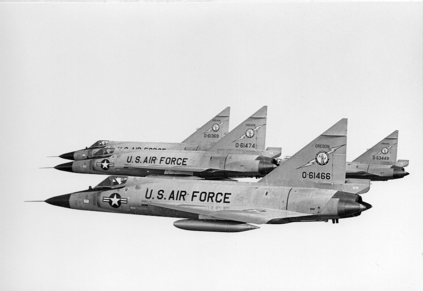 A flight of Oregon ANG F-102A Delta Dagger fighter-interceptors in formation over the Pacific Northwest, circa 1968.  (142nd Fighter Wing History Archives)