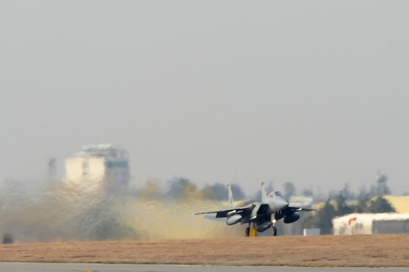 F-15C Eagles from the 493rd Fighter Squadron at RAF Lakenheath, UK, depart Incirlik Air Base, Turkey Dec. 16, 2015. The F-15C's were deployed to Incirlik to conduct combat air patrols in Turkish air space. As an air-to-air fighter aircraft, the F-15C specializes in gaining and maintaining air superiority. (U.S. Air Force photo by Tech Sgt. Taylor Worley)