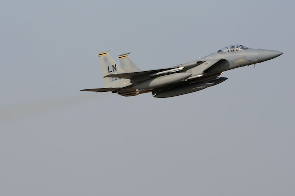 An F-15C Eagle from the 493rd Fighter Squadron at RAF Lakenheath, UK, departs Incirlik Air Base, Turkey Dec. 16, 2015. The F-15C's were deployed to Incirlik to conduct combat air patrols in Turkish air space. As an air-to-air fighter aircraft, the F-15C specializes in gaining and maintaining air superiority. (U.S. Air Force photo by Tech Sgt. Taylor Worley)