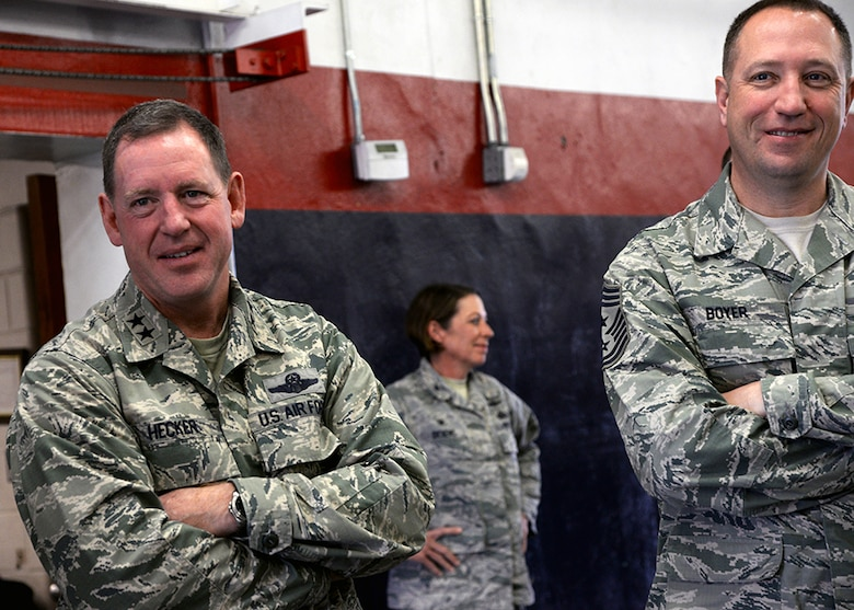 Maj. Gen. James Hecker, 19th Air Force commander, and Chief Master Sgt. Robert Boyer, 19th Air Force command chief, tour the munitions storage area, Dec. 10, during their visit to Joint Base San Antonio-Lackland, Texas. Boyer accompanied the general on his site visit to the wing. During the visit, both Air Force leaders, toured several units and reacquainted themselves with the people and mission of the 149th FW.