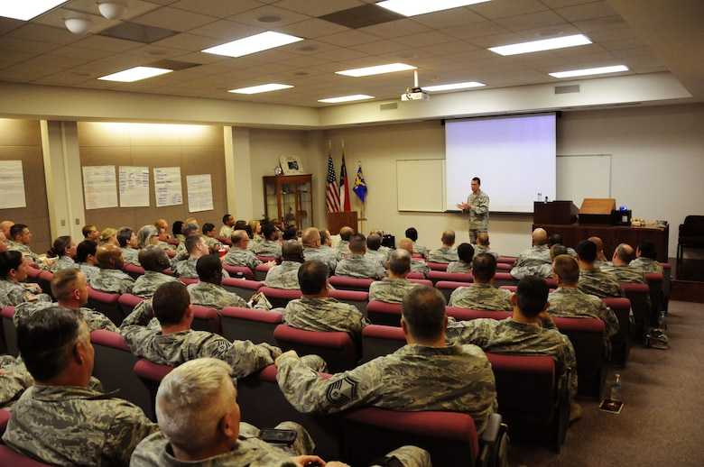 More than 100 Airmen and Soldiers from the North Carolina National Guard attended Four Lenses & Enhanced Human Capital, professional development courses taught at the North Carolina Air National Guard Base, Charlotte Douglas International Airport, Dec. 11, 2015. 