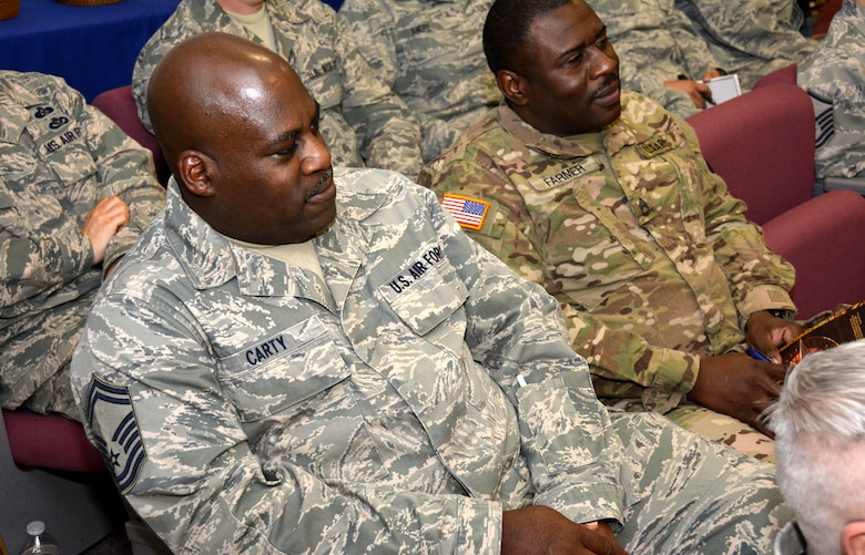 U.S. Air Force Senior Master Sgt. Gregory Carty and U.S. Army Sergeant First Class Kenneth Farmer, 881st Engineer Support Squadron, listen intently to instructors while attending a Four Lenses & Enhanced Human Capital course held at the North Carolina Air National Guard Base, Charlotte Douglas International Airport, Dec. 11, 2015. More than 100 Airmen and Soldiers from the North Carolina National Guard attended the day-long professional development training where attendees learned better ways to communicate, not only as supervisors but strengthen communication and personal interaction with coworkers, family and friends. (U.S. Air National Guard photo by Master Sgt. Patricia F. Moran /Released)