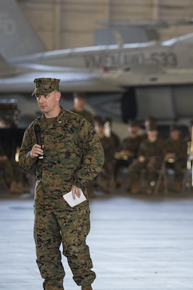 Lt. Col. Mathew A. Brown speaks during a change of command ceremony aboard Marine Corps Air Station Beaufort Dec. 10. Brown took command of Marine All-Weather Fighter Attack Squadron 533 from Lt. Col. Alvin Bryant.