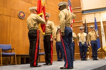 Lieutenant Gen. Mark A. Brilakis relinquishes command of Marine Corps Recruiting Command to Brig. Gen. Paul Kennedy during the MCRC change of command ceremony at the Gray Research Center aboard Marine Corps Base Quantico, Va., Dec. 17, 2015. Kennedy formerly served as the commanding general of 3rd Marine Expeditionary Brigade, Okinawa, Japan, before taking command of MCRC.