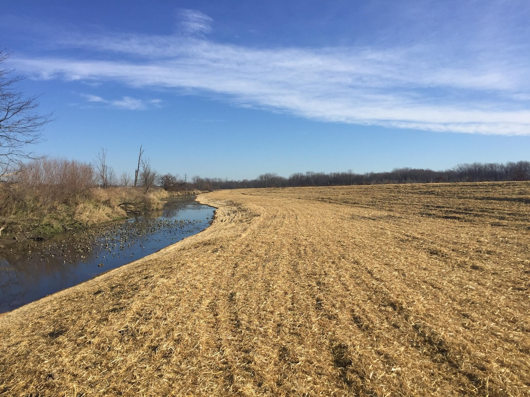 Pictured is the Eagle Marsh berm construction at  Graham-McCullough Ditch, Fort Wayne, Ind.