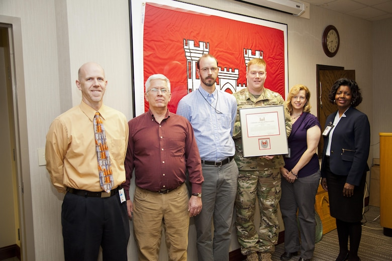 Chris Inlow, Scott Giller, Jason Meyer, Lisa Taylor and Karla Wright were presented with a certificate of appreciation by Louisville District Commander Col. Christopher Beck (center) at a meeting at the Mazzoli Federal Building Dec. 15, 2015.