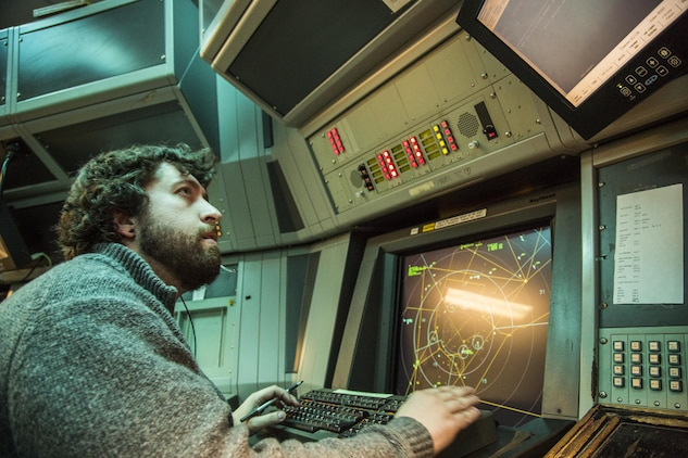 Nick Wallace monitors air traffic from the Air Traffic Control tower aboard Marine Corps Air Station Beaufort Dec. 16. Controllers are essential to ensure the safety and efficiency of air station flight operations.