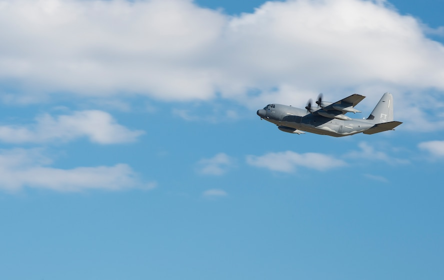 An HC-130J Combat King II conducts a low pass before landing Dec. 11, 2015, at Moody Air Force Base, Ga. The aircraft is the 2,500th C-130 manufactured by Lockheed Martin Corp. and Moody's seventh HC-130J to be added to the 71st Rescue Squadron's fleet and legacy. (U.S. Air Force photo/Senior Airman Ceaira Tinsley)
