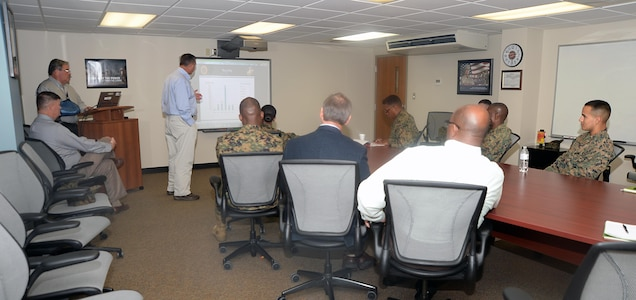 Brian Wallace, environmental branch head, Installation and Environmental Division, Marine Corps Logistics Base Albany, explains the base's recycling program during a brief about the installation, Dec. 16.