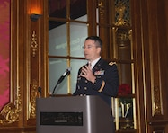 Colonel Ed Chamberlayne, Baltimore District commander, provides opening remarks at the  Dec. 2015 Society of American Military Engineers Baltimore Post breakfast meeting on Dec. 16, 2015 in Baltimore, Maryland. District program managers presented briefings for fiscal year 2016 projects for military construction, the secure environment, civil works and environmental projects.