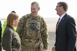 U.S. Army Lt. Gen. Sean MacFarland greets U.S. Defense Secretary Ash Carter and his wife, Stephanie, after they arrive in Baghdad, Dec. 16, 2015. DoD photo by Army Sgt. 1st Class Clydell Kinchen
