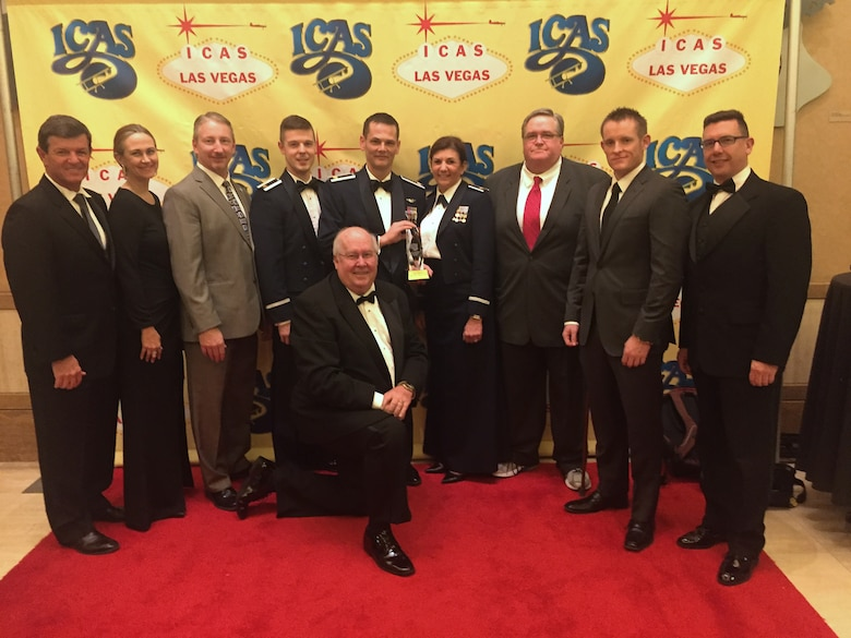 2015 Thunder of Niagara Air Show Organizers pose for a photo at the Chairman's Banquet during the 2015 International Council of Air Shows on Dec. 08, 2015 in Las Vegas, Nevada. Niagara Falls Air Reserve Station won the Dick Schram Memorial Community Relations Award, presented each year to the military base which, in planning and implementing its air show, not only exhibits traditional community relations as it considers the needs of its civilian neighbors, but sets new standards of excellence in this area by including its community in the planning, execution and rewards of the event. (Courtesy Photo)