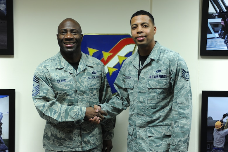 Chief Master Sgt. Vegas Clark, 39th Air Base Wing command chief, greets Staff Sgt. Andrew Gaither, 39th Maintenance Squadron munitions scheduling non-commissioned officer in charge, before beginning his chief shadow day Dec. 11, 2015. Airmen are chosen for the command chief's shadow program based on their commander's recommendation about their dedication to the mission and their job. (U.S. Air Force photo by Airman 1st Class Daniel Lile)