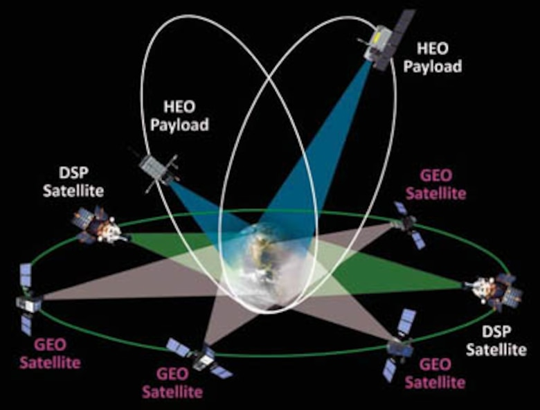 An artist's concept depicts a constellation of DSP, SBIRS GEO and SBIRS HEO platforms in Earth orbit. (Photo courtesy Lockheed Martin)