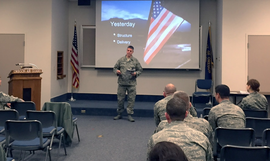 Members of the 142nd Fighter Wing practice the skills they have learned during a two-day training event by Dr. Rosemary King on speech writing and delivery techniques held at Portland Air National Guard Base, Ore., Dec. 17, 2015.  King's presentation skills training is the most recent contribution to the Wing's ongoing mentorship program. (U.S. Air National Guard photo by 1st Lt. Chelsi Spence, 142nd Fighter Wing Public Affairs)