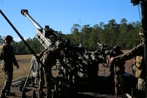 Marines with Charlie Battery, 1st Battalion, 10th Marine Regiment, adjust the elevation of an M777A2 howitzer during a gunnery precision and calibration exercise at Camp Lejeune, N.C., Dec. 15, 2015. The Marines conducted the training to solidify team cohesion and enhance their readiness to complete live-fire missions in preparation for Exercise Cold Response 16. Cold Response 16 is a multinational, Norwegian-led exercise that prepares more than 15,000 troops from 16 countries for support and combat operations in harsh conditions while working together to create stronger bonds between the allied forces.  (U.S. Marine Corps photo by Lance Cpl. Shannon Kroening/Released)