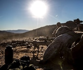 Marines with 1st Battalion, 8th Marine Regiment fire simultaneously during the sniper marksmanship assessment as part of Integrated Training Exercise 1-16 aboard Marine Air Ground Combat Center, Twentynine Palms, Calif., Oct. 24, 2015. During ITX, Marines demonstrate core, infantry mission essential tasks while conducting offensive and defensive stability operations. (U.S. Marine Corps photo by Cpl. Immanuel M. Johnson/Released)