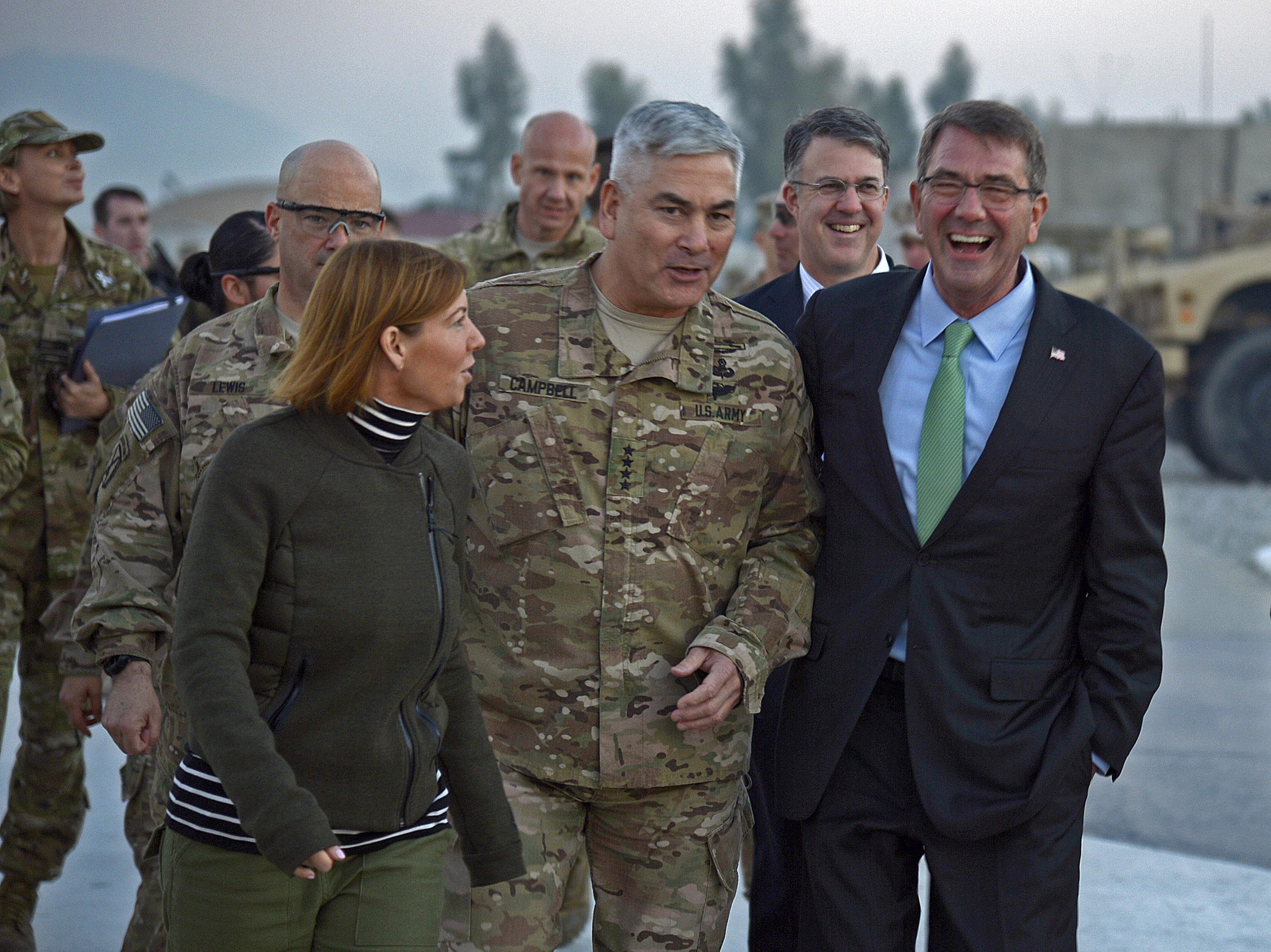 With u s defense secretary ash carter and carter s wife stephanie
